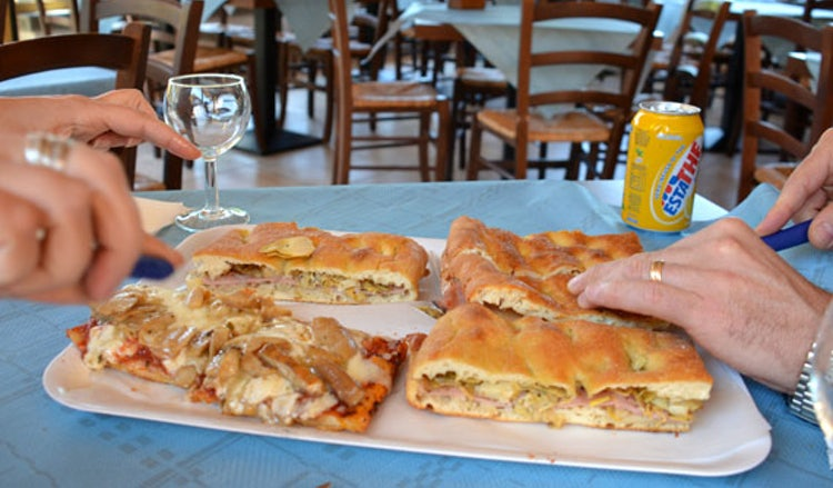 Schiacciata with mushrooms at the Bar Consumo on the road to the Casentino valley