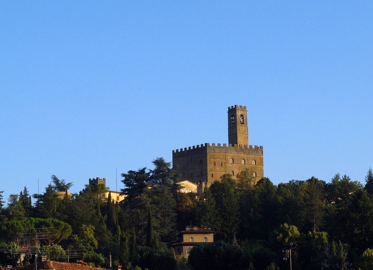 Poppi Castle as seen from the battle grounds of Battle of Campaldino and Dante