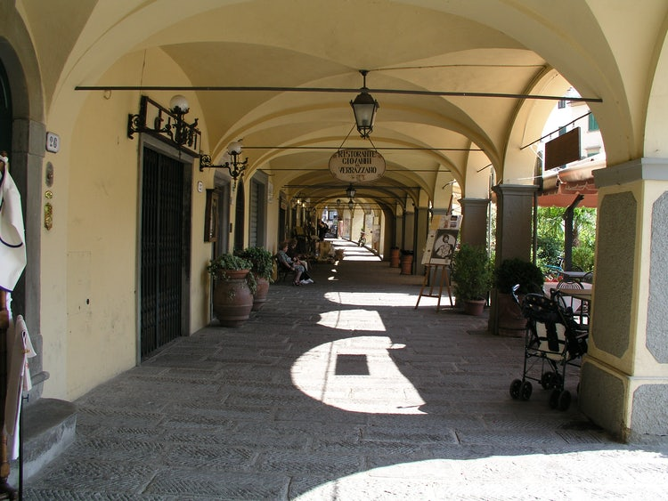 Portico around market square in Greve in Chianti