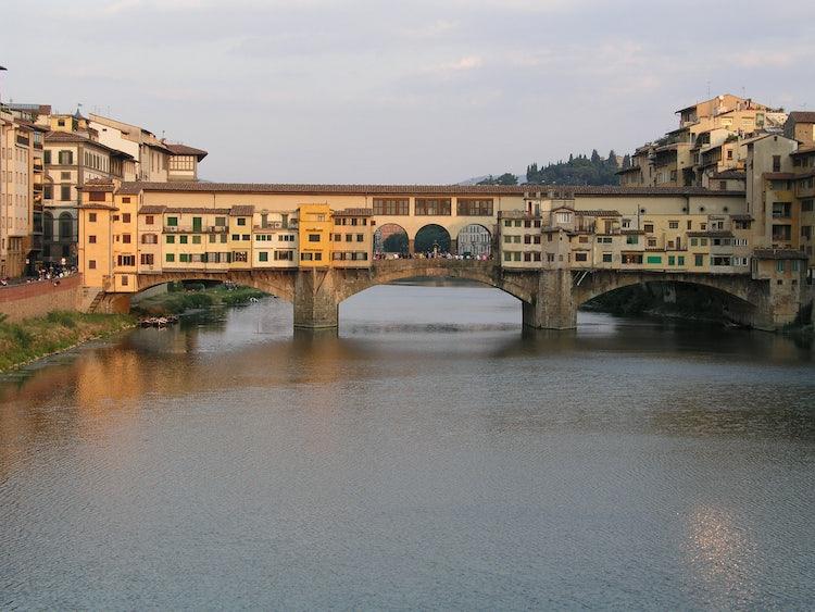 Ponte Vecchio or the Old Bridge in Florence city center