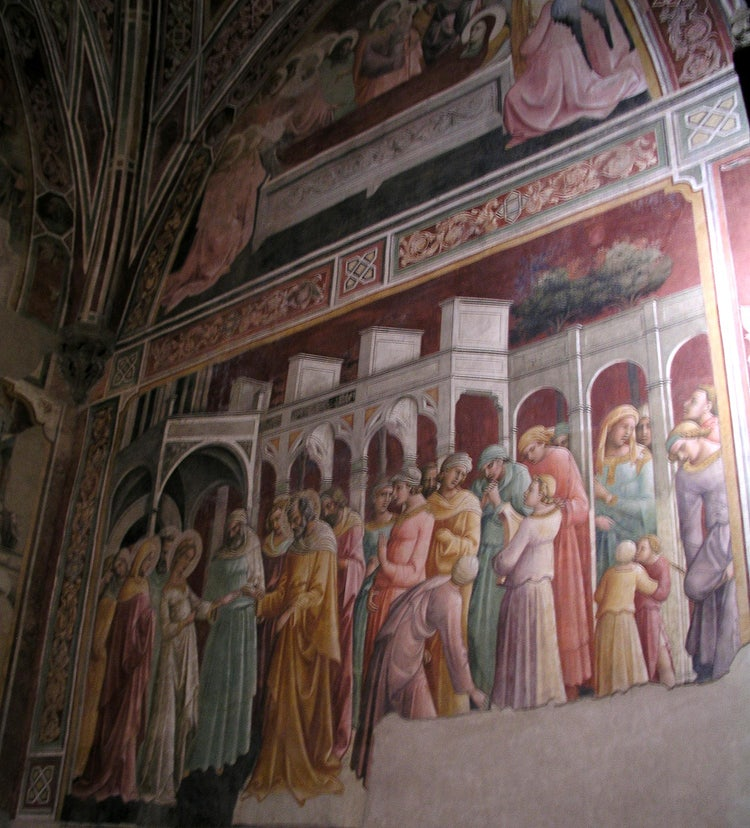 Frescoes by Ghirlandaio in the Sassetti Chapel, Santa Trinita Church, Florence Italy