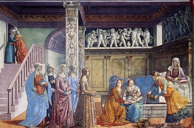 The birth of the Virgin at SMN, Santa Maria Novella Church in Florence