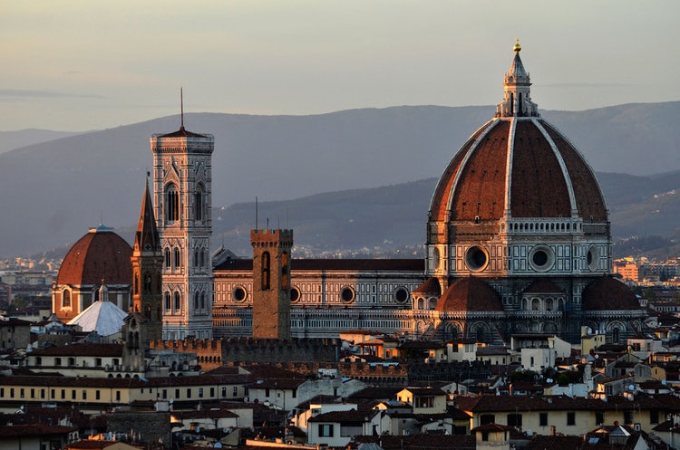 Florence's historical center at sunset