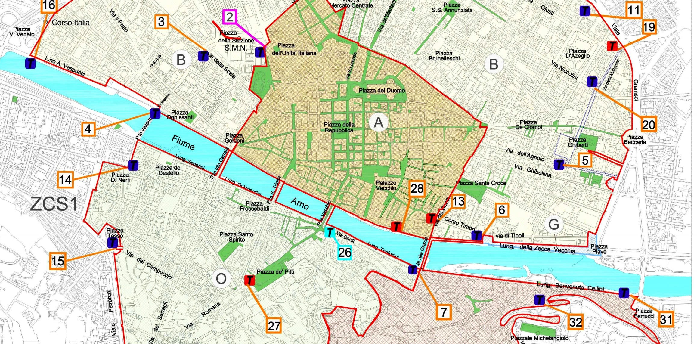 Firenze Cartina Centro Storico.Cartina Di Firenze