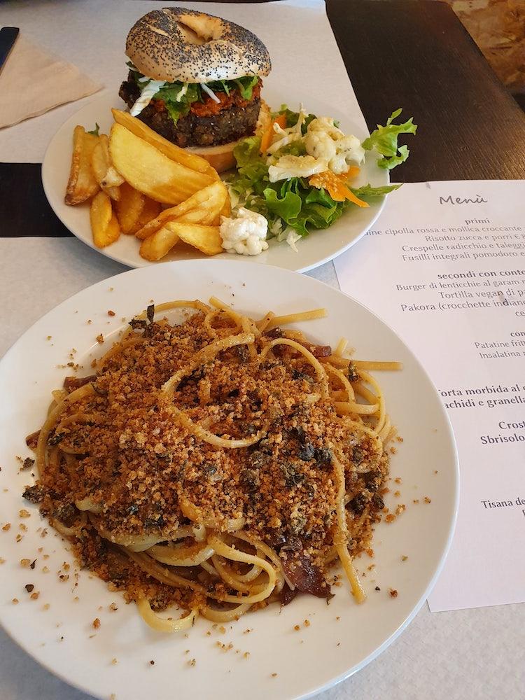 Vegan Spaghetti and Burger at GreenGo