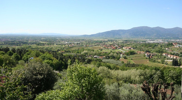 The valley and mountains near Montecarlo and Lucca