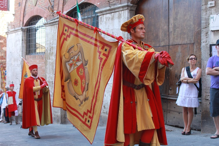 one of the contrada in Montepulciano parades on the Bravio delle Botti festival