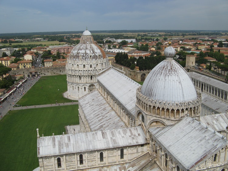 Looking down from the tower of Pisa - be sure to book ahead.