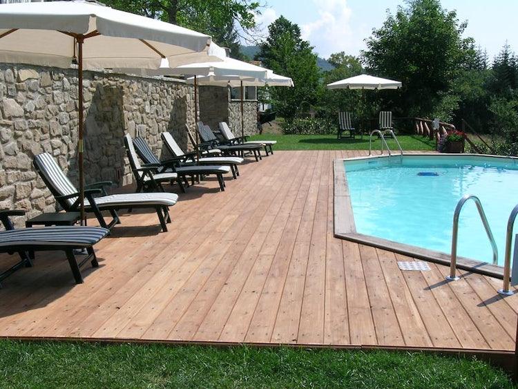 Poolside view for Borgo Isora in Pistoia Tuscany