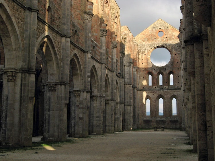 Inside of San Galgano near Siena