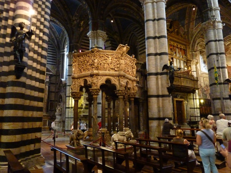 Marble Pulpit by Nicola Pisano inside Duomo of Siena