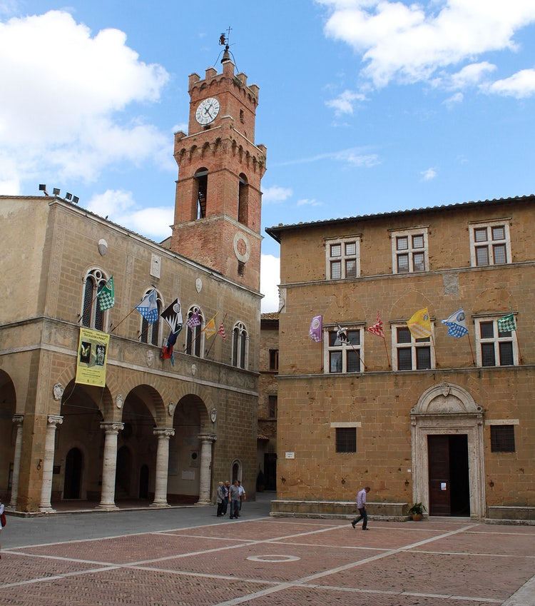 Main square in Pienza in Val d'Orcia Tuscany