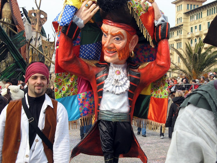 Costumed revelers at the Carnival of Viareggio