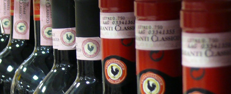 Pink label which indicates Chianti Classico wines