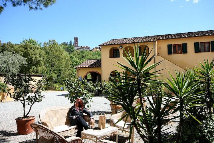 Outdoor seating under the Montecarlo skyline
